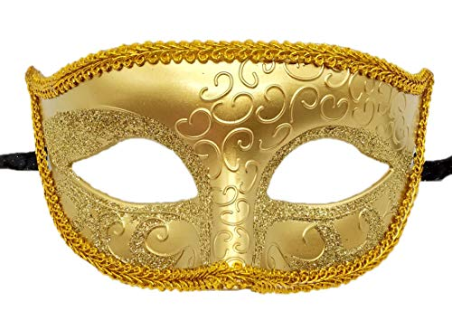 Coolwife Mens Masquerade Mask Venetian Halloween Costume Mardi Gras Party Mask (Gold) ()