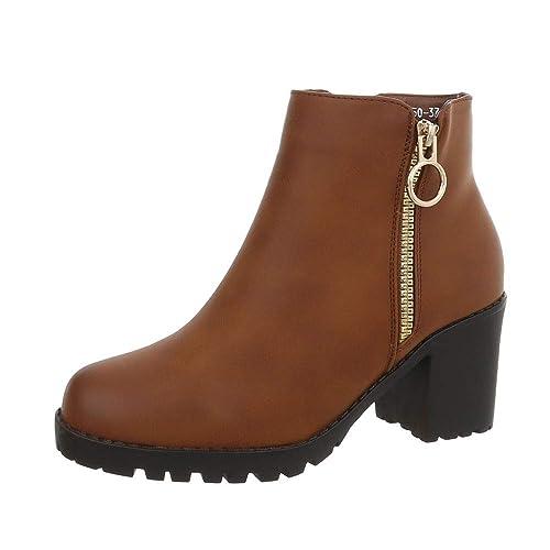 Zapatos para mujer Botas Tacón ancho Classic Botines Ital-Design: Amazon.es: Zapatos y complementos