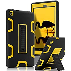 SKYLMW All-New Amazon Fire HD 8 (2016 6th Generation)Case,[Kickstand Feature],Shock-Absorption / High Impact Resistant Heavy Duty Armor Defender Case,Black Yellow