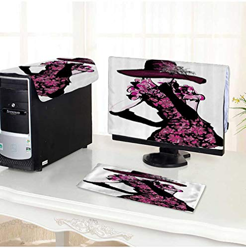 Dress Paisley Goddess - Leighhome Flat Screen Protector 3 Pieces Trendy Woman Furry Hat and Floral Dress Nostalgic Magazine Catwalk Look Goddess Anti-Static Vinyl /30