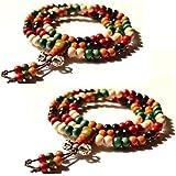 bracelets en bois de santal pour deux, colliers bouddhiste tibétains,108 grains de billes en bois de santal (cinq couleurs avec Vajra Knot)