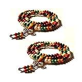 SwirlColor 2 pièces 108 Pièces bouddhiste tibétain prière multi Strand ronde bois de santal bracelet ou un collier (Cinq-coloré avec Vajra Knot)