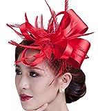 Fascinator Flower Cocktail Party Headdress Wedding Bridal Headpiece for Women (Red)