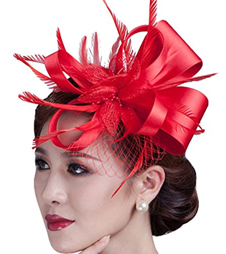 Sheliky Fascinator Flower Cocktail Party Headdress Wedding Bridal Headpiece For Women (Red)