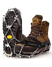 Premium stijgijzers voor bergschoenen met 19 roestvrij stalen spikes - professionele anti-slip schoenklauwen voor sneeuw en ijs - winter grote spikes voor schoenen - schoenkettingen om te wandelen - grootdelen ijsspikes