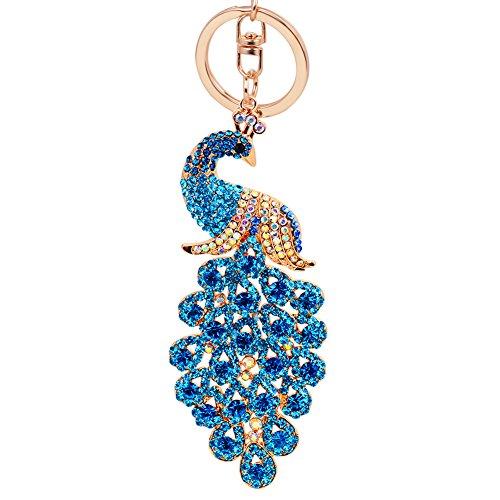 EASYA Animal Keychain Cute Key Chian Peacock Key Chain (XLarge) (Blue)