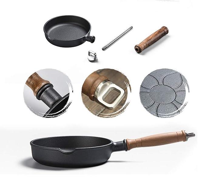 ZHESHEN Sartén Hierro fundido de 20 cm, Profesional Antiadherente, para Todo Tipo de cocinas Incluido Inducción: Amazon.es: Hogar