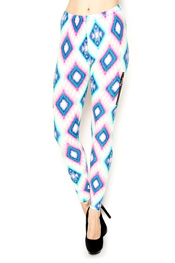 D.Top SOUTHWEST PRINT BRUSHED LEGGINGS WITH ZIPPER White//Blue