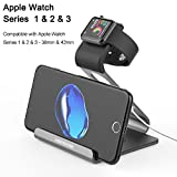 Mercase Apple Watch Stand, Night Stand Mode iWatch Charging Stand Bracket Docking Station Holder for Apple Watch Series 3/Series 2/ Series 1 (42mm 38mm) iPhone X 8 8plus 7 7plus 6S 6plus - Space Grey