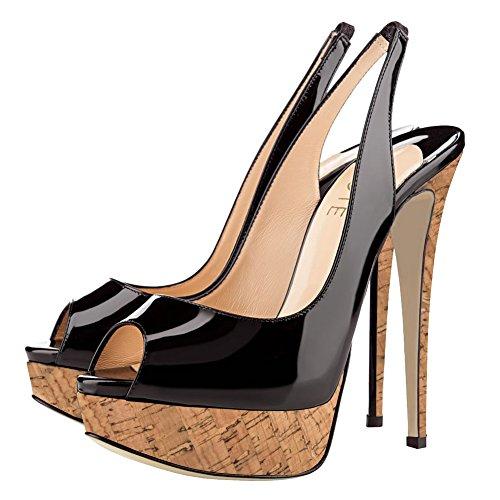 High mit Schwarz Pumps Slingpumps Schuhe Toe Damen Holzplattform Peep MERUMOTE Plateau Heels qTwI11