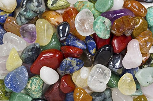 Fantasia Materials: 2 lbs Premium Brazilian Tumbled Polished Natural Stones Assorted Mix - Medium - 1