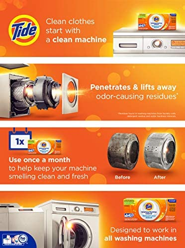 Washing Machine Cleaner through Tide, Washer Machine Cleaner Tablets for Front and Top Loader Machines, 5 Count Box