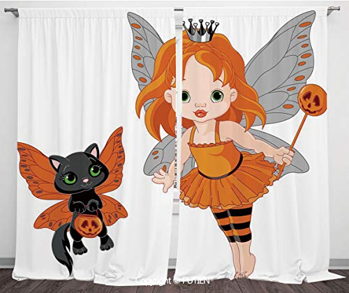 PUTIEN Satin Window Drapes Curtains [ Halloween,Halloween Baby Fairy and Her Cat in Costumes Girls Kids Room Decor Decorative,Multicolor ] Window Curtain Window Drapes for Living Room Bedroom Dor