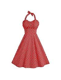 ACEVOG Women Rockabilly 50s Vintage Polka Dots Cocktail Dress