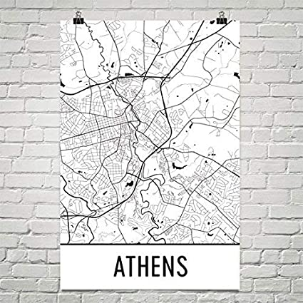 Map Of Athens Ga Amazon.com: Athens GA Poster, Athens GA Art Print, Athens GA Wall