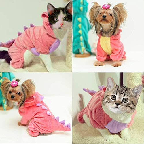 GBD Halloween Costume for Pet Dog Cat Dinosaur Plush Hoodies Animal Fleece Jacket Coat Warm Outfits Clothes for Small Medium Dogs Cats Halloween Cosplay Apparel Accessories 18