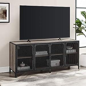 Walker Edison Malcomb Urban Industrial 4 Door Metal Mesh TV Console for TVs up to 65 Inches, 60 Inch, Grey