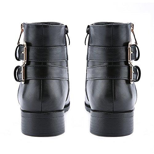 Botines Con Cremallera Para Mujer Botines Cerrados De Tacón Bajo Con Tacón Bajo En Piel De Vaquero Negro