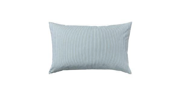 IKEA funda de cojín, azul, blanco 16 x 26