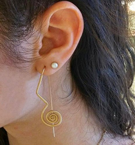 79c10ad811caa0 Amazon.com: Gold spiral earrings, Wire wrapped earrings, Womens ...