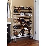 Mainstays 10-Tier Rolling Shoe Rack, Silver/Black