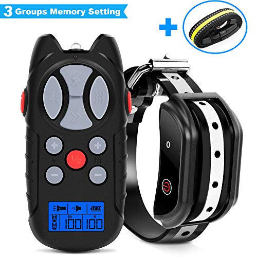 Flittor Shock Collar for Dogs, [2019 Newest] Dog Training Collar, Rechargeable Dog Shock Collar with Remote, 3 Modes Beep Vibration and Shock 100% Waterproof Bark Collar for Small, Medium, Large Dogs