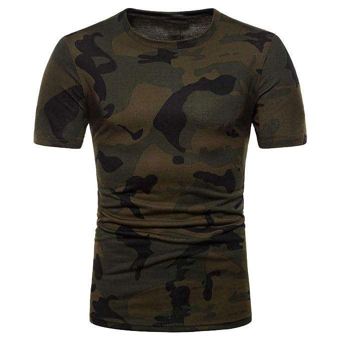Camiseta de Manga Corta Absolute Hombre Estampado de Camuflaje para Hombre Top Camisa De Verano Hombre Cuello Redondo T-Shirt Hombre Suelto Casual ...