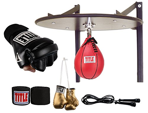 Deluxe Boxing Bag Gloves - Title Boxing TITLE Deluxe Speed Bag Set, Black, Large
