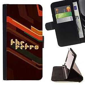 Momo Phone Case / Flip Funda de Cuero Case Cover - Estilo retro ilustraciones del cartel de Brown Cita Slogan - Huawei Ascend P8 Lite (Not for Normal P8)