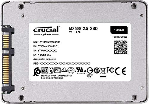 Crucial MX500 CT1000MX500SSD1 SSD Interno, 1 TB, 3D NAND, SATA, 2.5 Pollici