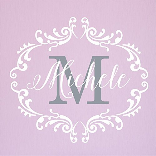 (cosopa Wall Stickers Art Decor Vinyl Peel and Stick Mural Removable Decals Princess Frame with Initial Personalized )