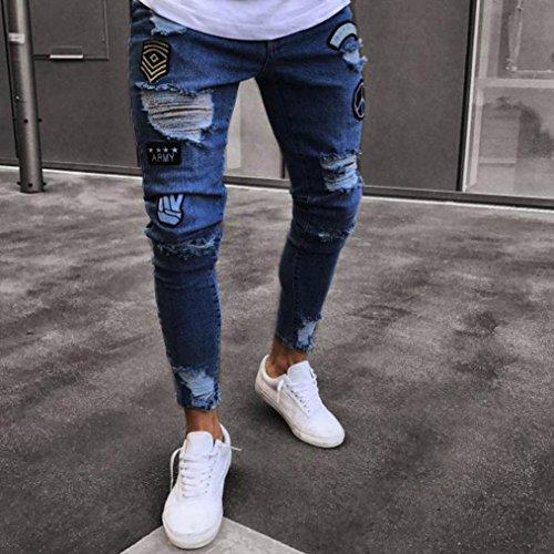 Oferta Pantalones para Pantalones hombre Ropa Biker Pantalones vaqueros Liquidación Pantalones de Distressed interior natación con de Rip Zipper Slim Troncos deshilachados flacos rzUwrq