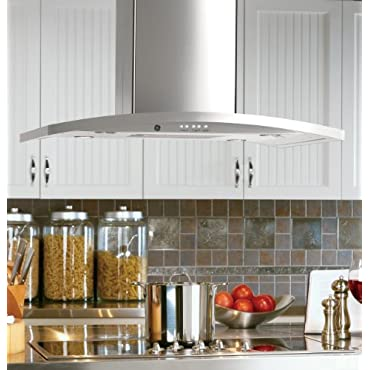 GE PV977NSS Profile 36 Stainless Steel Chimney Style Island Mount Range Hood 450 CFM