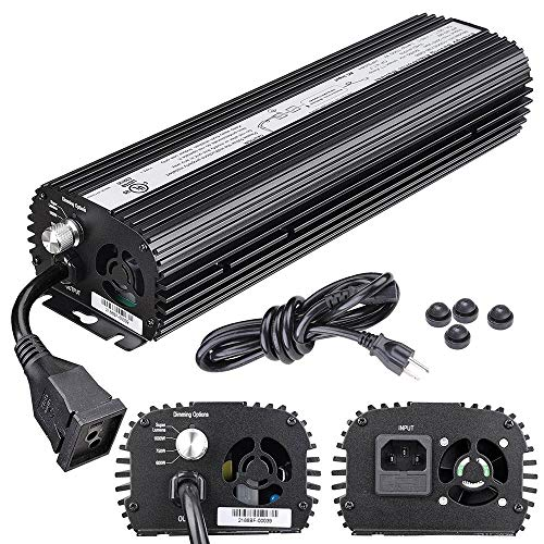 Yescom 1000W HPS MH Digital Electronic Dimmable Ballast for Grow Light Bulb Lamp with Internal Fan Dimming Options ()