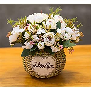 Zzooi 3 Bouquet of Camellia Artificial Flowers Suitable For:Home,Table,Wedding,Party, Meeting Room,DIY Floral Arrangment Decor. 65