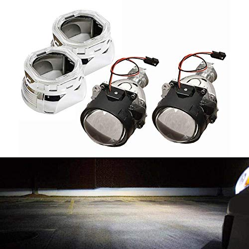 iJDMTOY (2) Mini 2.5-Inch H1 Bi-Xenon HID Projectors w/Square Shape Angel Eye Ready Shroud For Headlight Retrofit DIY