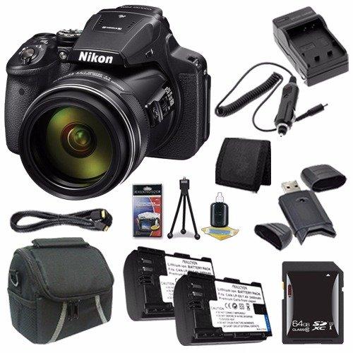 Nikon COOLPIX P900 16MP Digital Camera (International Model No Warranty) + EN-EL23 Battery + External Charger + 64GB SDXC Card + Case + Mini HDMI Cable + Card Reader + Card Wallet Saver Bundle