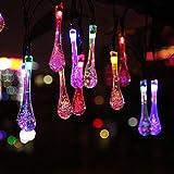 Salcar Catene luminose LED 5 metri solare catena leggera include 20 Gocce d'acqua illuminazione decorativa per le celebrazioni della festa di Natale (RGB)