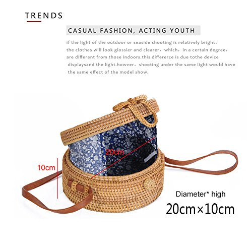 Bag Casual Handwoven Rattan Round Yoome Daily Circle Bag Straw Estate Shoulder Bag Women Crossbody Beach Life qvwI55dx
