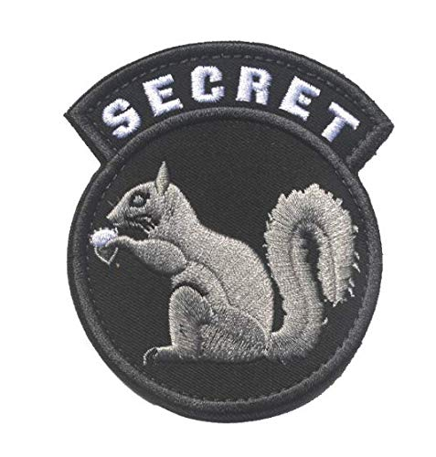 Black Ops Covert Top Secret Squirrel Military Patch Fabric Embroidered Badges Patch Tactical Stickers for Clothes with Hook & Loop -