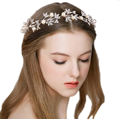 JoinMe Women's Bohemian Cream Simulated Pearl Flower Crystal Leaf Bride Flexible Hair Comb Clip Clear