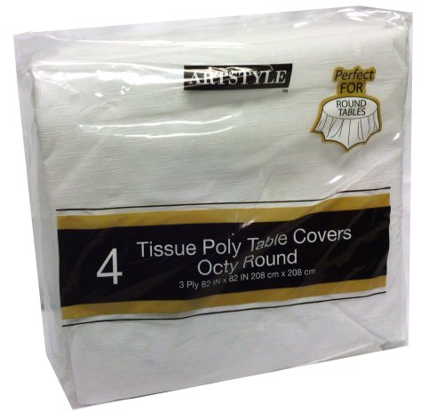 Artstyle Tissue Poly Table Covers Octy Round 4 (Disposable Round Table Covers)