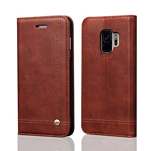 Galaxy S9 Case,[Magnetic Closure] PU Leather Wallet Flip Protective Cover with Kick Stand Function Cash/Card Slot Folio Case for Samsung Galaxy S9 - Brown by REEGINCH