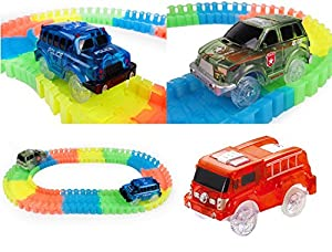 New Universal Only Race Car Set Replacement For Magic Track Glow In The Dark With 5 Led Light Up Police Jeep Fire Truck and Military Off Road 3 Pack