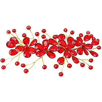 Happy Hours - Women's Red Flower Rhinestone Handmade Hairpins Pearl Barrette Clips for Prom Wedding Bridal Bridesmaid Jewelry Accessories