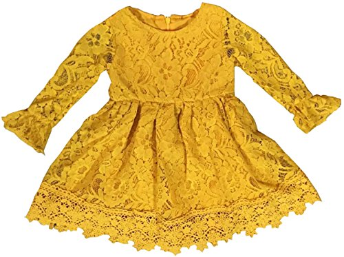 (BluNight Collection Little Girl Dress Kids Floral Lace Party Easter Summer Flower Girl Dress Yellow 2T XS)