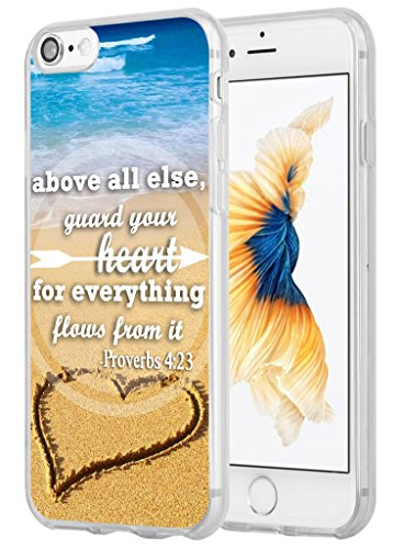 7 Case Bible Verse,Hungo Soft TPU Silicone Protective Cover Compatible with iPhone 7/8 Bible Christian Sayings Above All Guard Your Heart for Everything Flows from It Proverbs