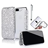Bonice iPhone 7 Plus/8 Plus Bling Sparkle Diamond Luxury Glitters Shock Proof Flip Case Wallet with Card Slot Shiny Crystal Clear PU Leather Shock Absorption Bumper Protective Cover Case for iPhone 7 Plus/ iPhone 8 Plus + Stylus Pen - Silver