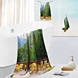 fast dry bath towel set Travel Tables and Chairs of Restaurant in Norway Mountains Green Mustard Brown Lightweight High Absorbency 13.8''x13.8''-11.8''x27.6''-27.6''x55.2''