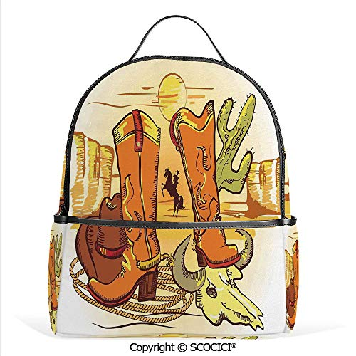 All Over Printed Backpack Old Wild West Elements with Rope Shoes and Silhouette of Cowboy Print,Yellow Orange,For Girls Cute Elementary School Bookbags